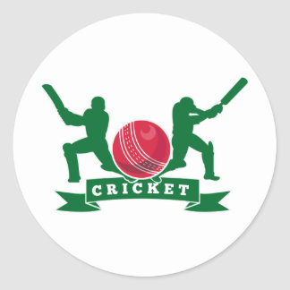 cricket batsman silhouette batting ball round sticker