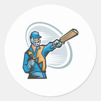 Cricket Batter 2 Round Sticker