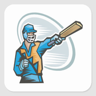 Cricket Batter 2 Square Sticker