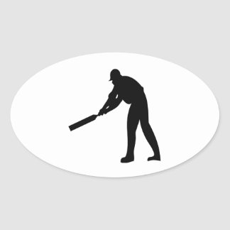 Cricket Batter Oval Sticker