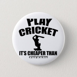 cricket   design 6 cm round badge