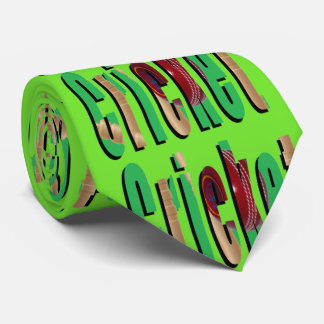 Cricket Game Logo, Unisex Green Silky Tie. Tie