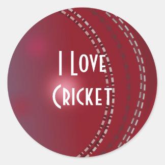"Cricket: ""I Love Cricket"" Classic Round Sticker"