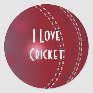 "Cricket: ""I Love Cricket"" Round Sticker"