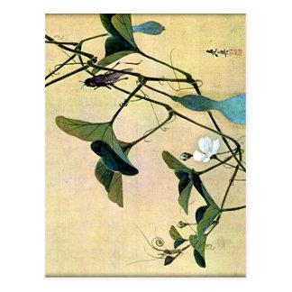 Cricket on a Vine Japanese Woodblock Art Ukiyo-E Postcard