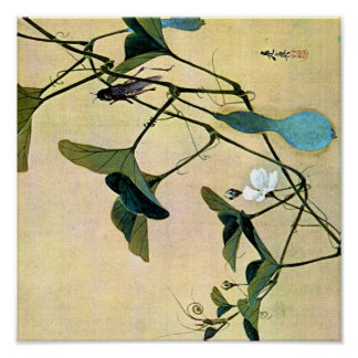 Cricket on a Vine Japanese Woodblock Art Ukiyo-E Poster