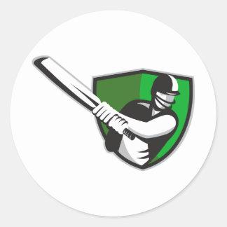 cricket player batsman bat shield retro sticker