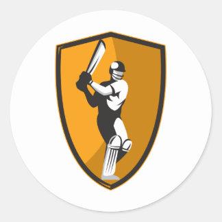cricket player batsman bat shield retro round sticker