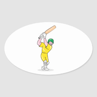 Cricket Player Batsman Batting Cartoon Oval Stickers