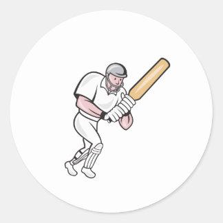 Cricket Player Batsman Batting Cartoon Round Sticker