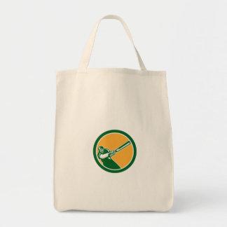 Cricket Player Batsman Batting Circle Retro Bags