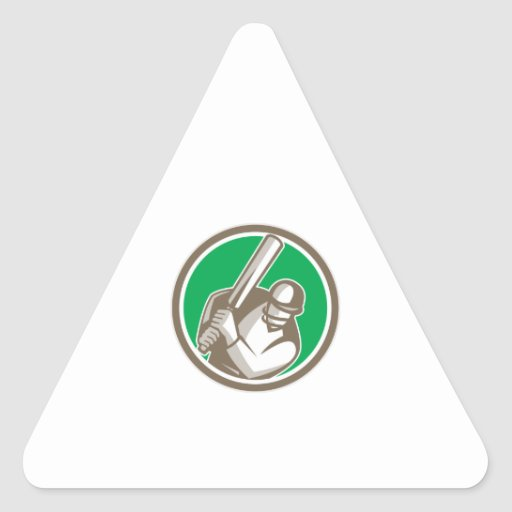 Cricket Player Batsman Batting Circle Retro Triangle Sticker