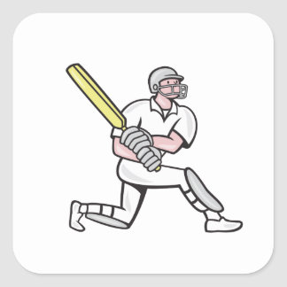 Cricket Player Batsman Batting Kneel Cartoon Square Sticker