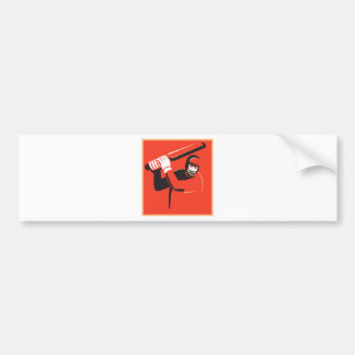 cricket player batsman batting retro bumper sticker