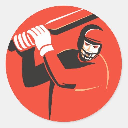 cricket player batsman batting retro sticker