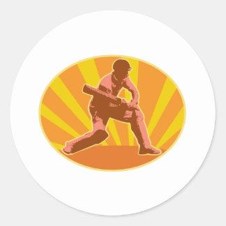 cricket player batsman batting retro round sticker