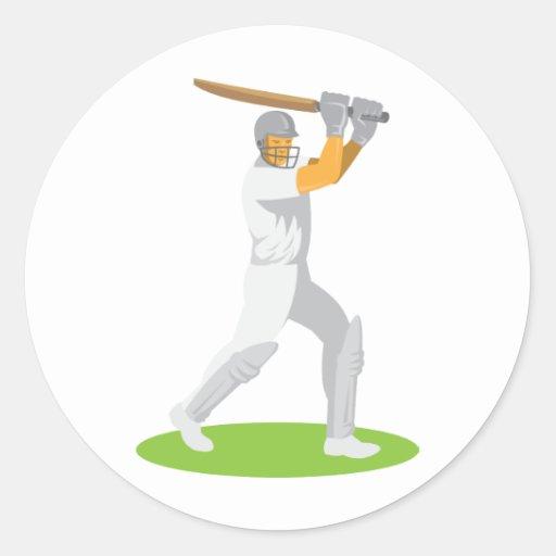 cricket player batsman batting retro round stickers