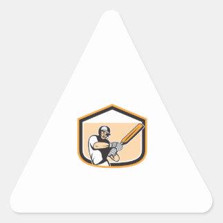 Cricket Player Batsman Batting Shield Cartoon Triangle Sticker
