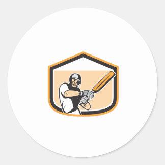 Cricket Player Batsman Batting Shield Cartoon Round Stickers
