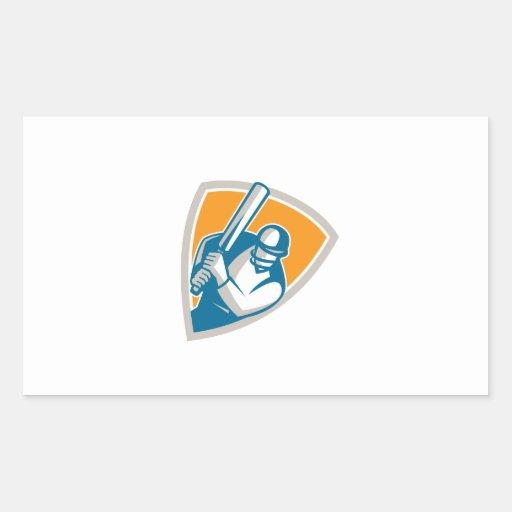 Cricket Player Batsman Batting Shield Retro Rectangle Sticker
