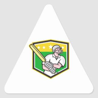 Cricket Player Batsman Batting Shield Star Triangle Sticker
