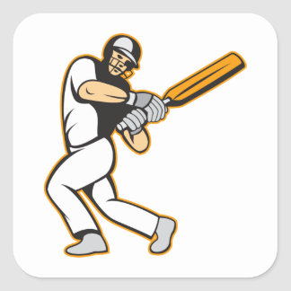 Cricket Player Batsman Batting Square Sticker