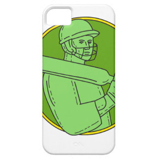 Cricket Player Batsman Circle Mono Line Barely There iPhone 5 Case