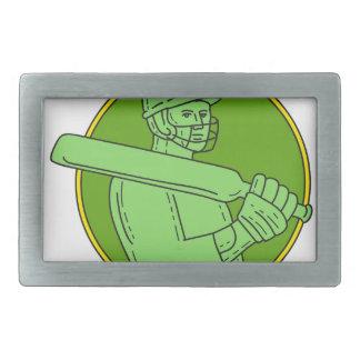 Cricket Player Batsman Circle Mono Line Belt Buckle