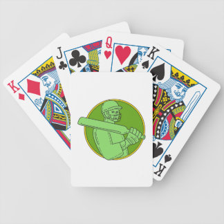 Cricket Player Batsman Circle Mono Line Bicycle Playing Cards