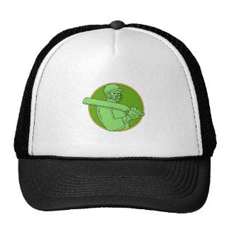Cricket Player Batsman Circle Mono Line Cap