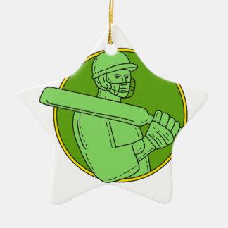 Cricket Player Batsman Circle Mono Line Ceramic Star Decoration