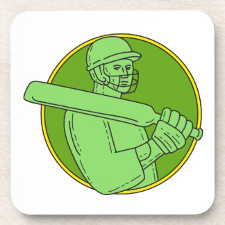 Cricket Player Batsman Circle Mono Line Coaster