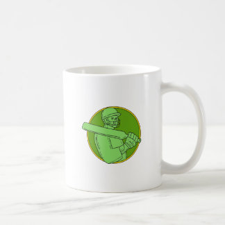 Cricket Player Batsman Circle Mono Line Coffee Mug