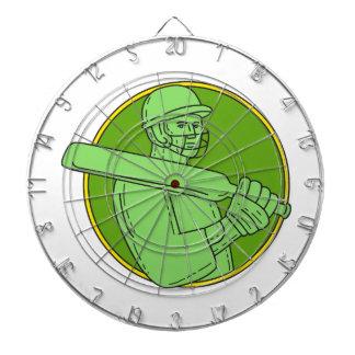 Cricket Player Batsman Circle Mono Line Dartboard