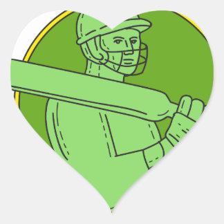 Cricket Player Batsman Circle Mono Line Heart Sticker