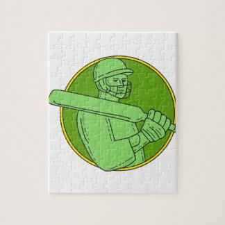 Cricket Player Batsman Circle Mono Line Jigsaw Puzzle