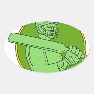 Cricket Player Batsman Circle Mono Line Oval Sticker