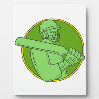 Cricket Player Batsman Circle Mono Line Plaque
