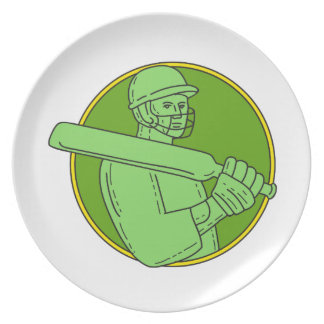 Cricket Player Batsman Circle Mono Line Plate