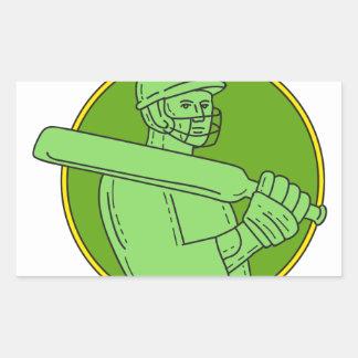 Cricket Player Batsman Circle Mono Line Rectangular Sticker