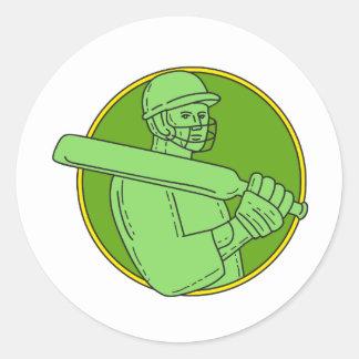 Cricket Player Batsman Circle Mono Line Round Sticker