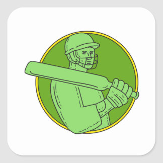 Cricket Player Batsman Circle Mono Line Square Sticker