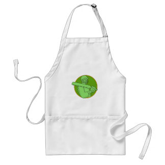 Cricket Player Batsman Circle Mono Line Standard Apron