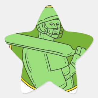 Cricket Player Batsman Circle Mono Line Star Sticker