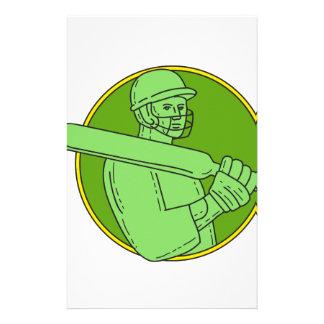 Cricket Player Batsman Circle Mono Line Stationery