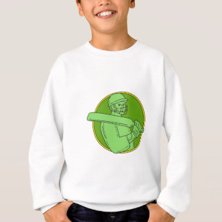 Cricket Player Batsman Circle Mono Line Sweatshirt