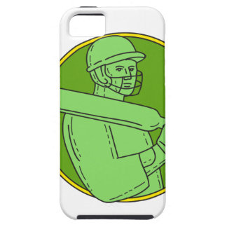 Cricket Player Batsman Circle Mono Line Tough iPhone 5 Case