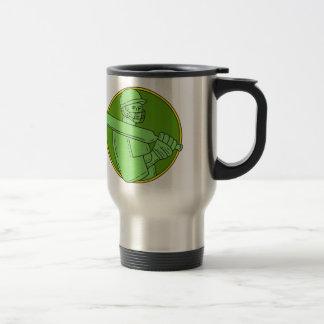 Cricket Player Batsman Circle Mono Line Travel Mug