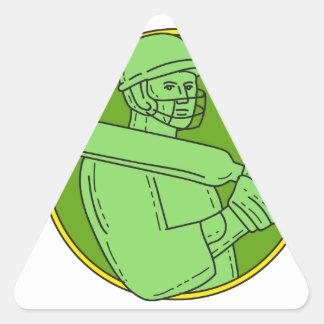 Cricket Player Batsman Circle Mono Line Triangle Sticker