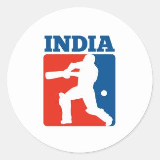 cricket player batsman India retro Round Sticker
